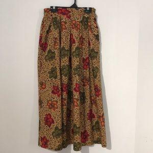 Vintage leopard and floral print skirt